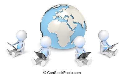 Global Communication. - 3D little human character X4...