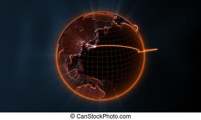global communication - center loop - loopable 3d animation...
