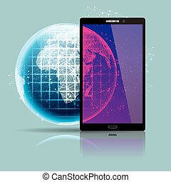 Global communication concept design. Isolated on blue background.