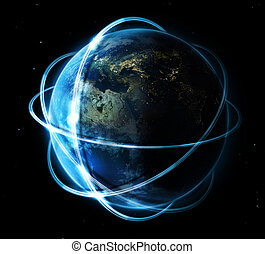 global communication concept - earth surrounded by white...