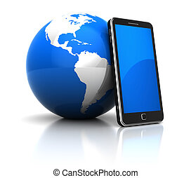 Global communication concept: mobile phone with blue planet