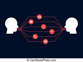 Global communication, connection network concept