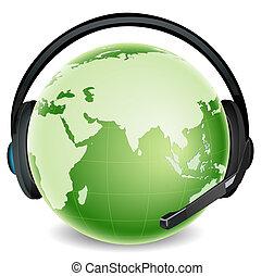 global communication - illustration of global headphone with...