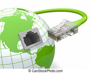 Global communication. Earth and cable, rj45. 3d