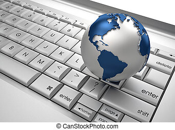 Global communication - Earth globe over keyboards computer...