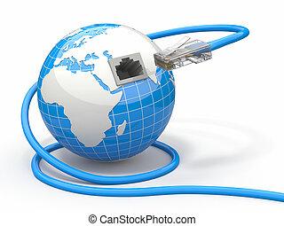 global, communication., erde, und, kabel, rj45.