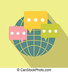 Global communication flat icon