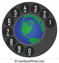 global communication - globe inside the dial of a telephone...