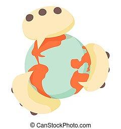 Global communication icon, cartoon style