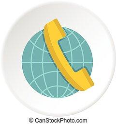 Global communication icon circle