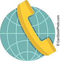 Global communication icon, flat style