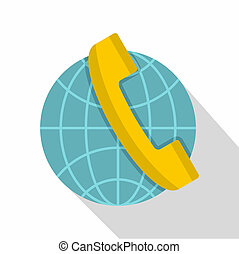 Global communication icon, flat style