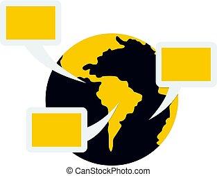 Global communication icon isolated