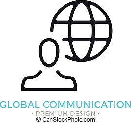 Global communication icon. Man and globe. Modern sign, linear pictogram, object, outline symbol, simple vector thin line icon