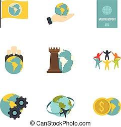 Global communication icon set, flat style
