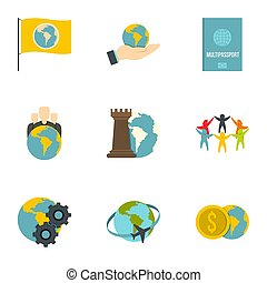 Global communication icon set, flat style