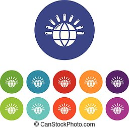 Global communication icons set vector color