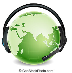 global communication - illustration of global headphone with...