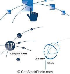 Global communication logo. Icon. Internet. Wireless. Vector Illustration.