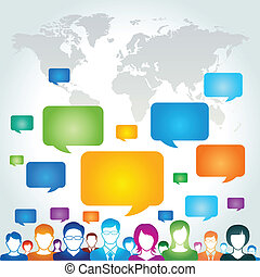 Global communication network concept, vector illustration.