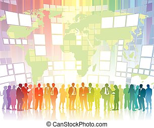Global communication - People are standing in front of large...