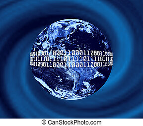 Global Communication - Planet Earth With Binary Code