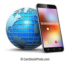 global, communication sans fil, concept