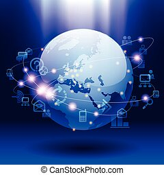 Global communication - Vector image of globe and web icons ...