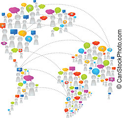 Global communication - World map made from abstract figures...