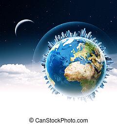 global, communications., abstrakt, technologie, und, transport, hintergruende