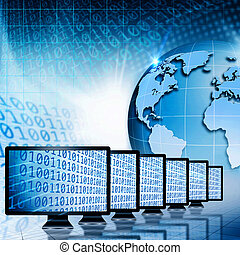Global communications and internet. Abstract technology backgrounds
