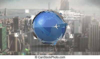 Global communications and travel - Digital animation of a ...