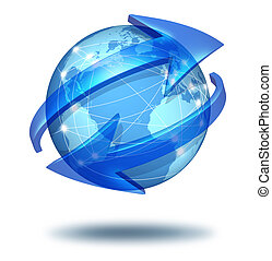 Global communications symbol and connections concept with a blue international globe of the world with two curved arrows going around the sphere as a social exchange and trade icon for imports and exports of goods and digital media content.