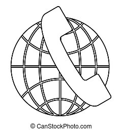 Global communications icon, outline style - Global...