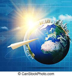global, communications., résumé, technologie, et, transport,...