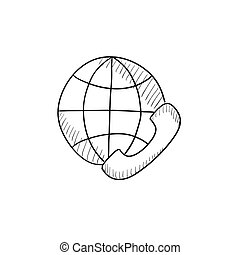 Global communications sketch icon. - Global communications...