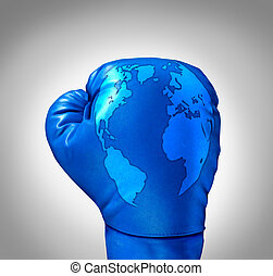 Global competition and competing globally as a business concept with a blue leather boxing glove with a map of the world incorporated in the texture as a symbol and metaphor for fighting international challenges.