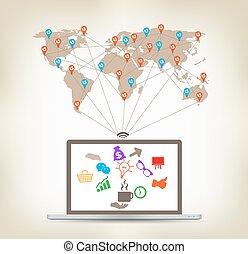 global, computador portatil, comunicación, concepto