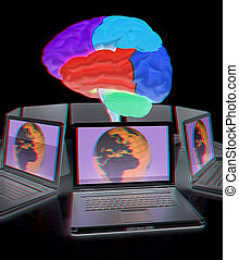 Global computer brain connected to the network. 3d render. Anaglyph. View with red/cyan glasses to see in 3D.