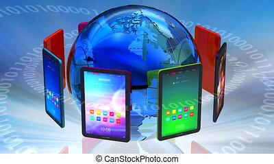 Global computer communication via tablet PC concept ***...