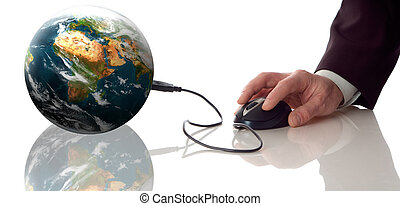 global - computer mouse conected to planeth earth concept