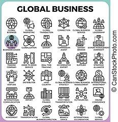 global, conceito, ícones negócio