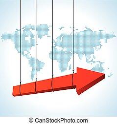 global, conceito, negócio, seta