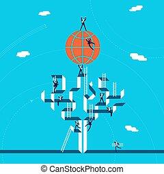 global, conceito, negócio, sucesso, ilustração