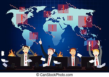 global, concept, économique, crise