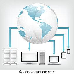 Global Concept. Laptop on Grey Gradient Background. Vector.