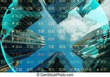 global, concept, commercer, économie