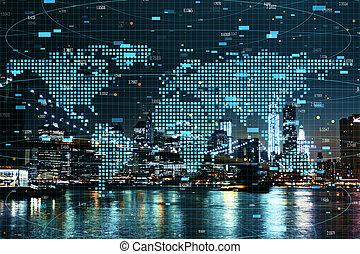 global, concept, finance, commercer