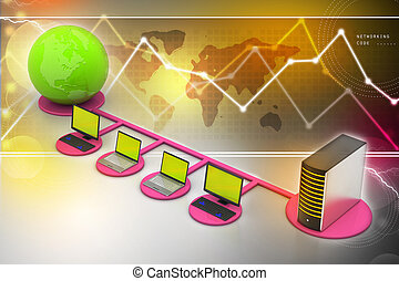 global, concept, gestion réseau