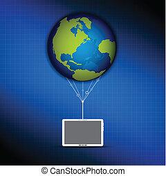 global, concept, nuage, calculer